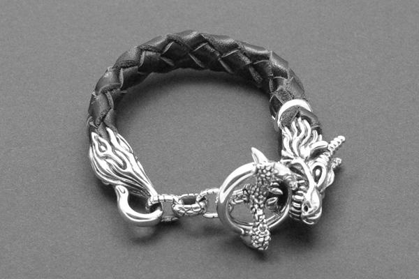 Leder und Silber Metall Drachenkopf Armband